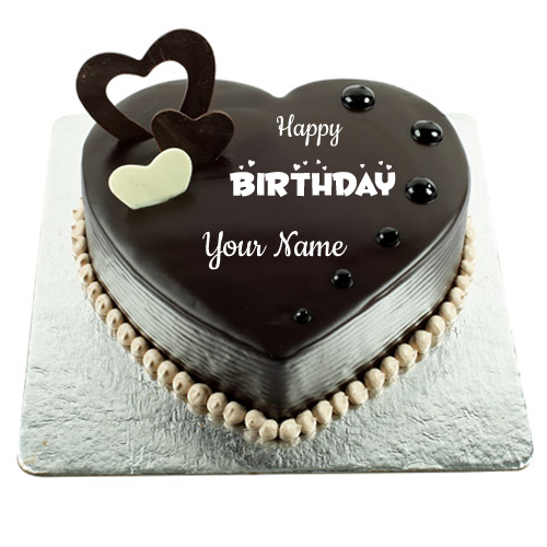 Chocolate Hearts Cake For Birthday Wishes With Name