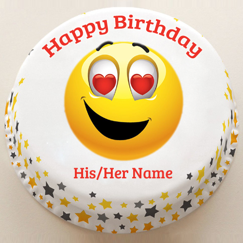 Cute Girlfriend Birthday Emoji Photo Cake With Name