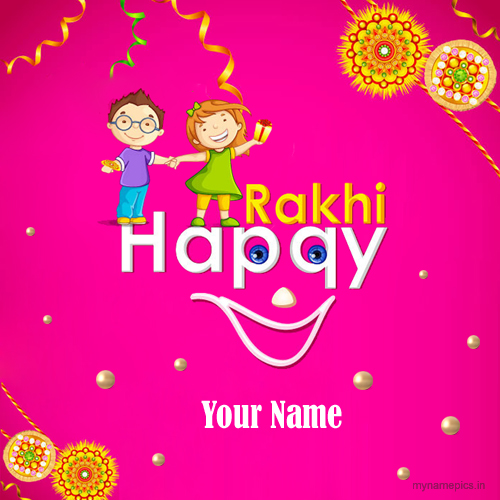 Write name on raksha bandhan brother sister profile pic