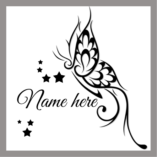 Stylish Butterfly And Star Tattoo Design Namepix