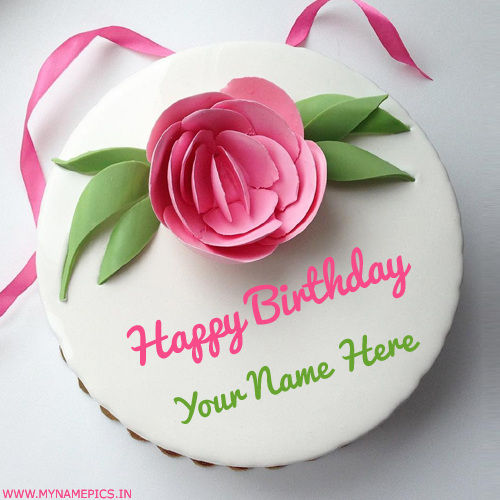 Pink Fondant Flower Cake Pics For Name Birthday Wishes