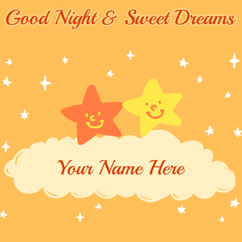 Good Night Sweet Dream Smiling Stars Greeting With Name