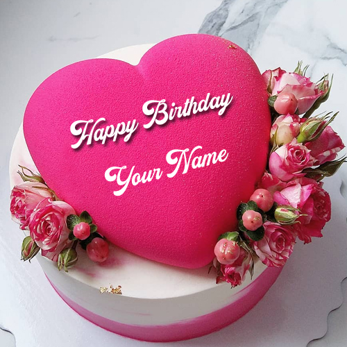 Write Name on Pink Heart Birthday Wish Cake With Rose
