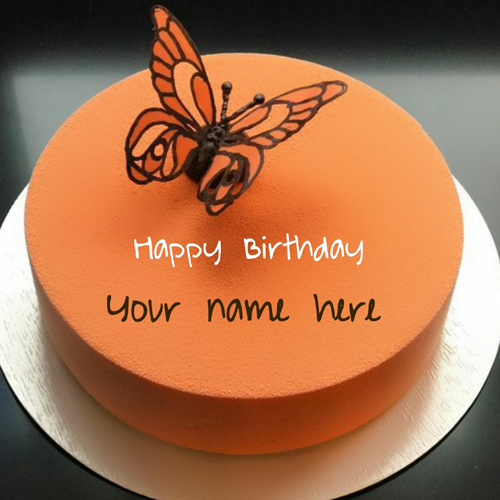 Birthday Wishes Butterfly Toppings Cake With Your Name
