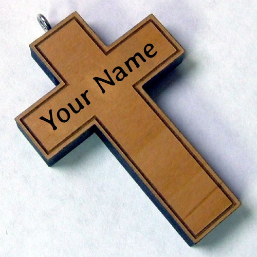 Customize Engraved Wood Necklace Cross With Your Name