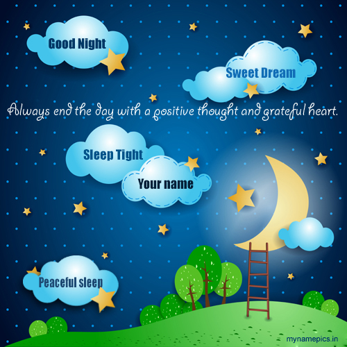 Write Name on Good Night Sweet Dreams Greetings Online
