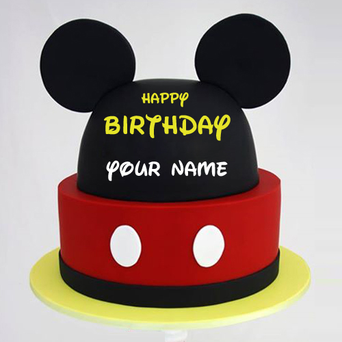 Happy Birthday Disney Mickey Mouse Theme Cake With Name