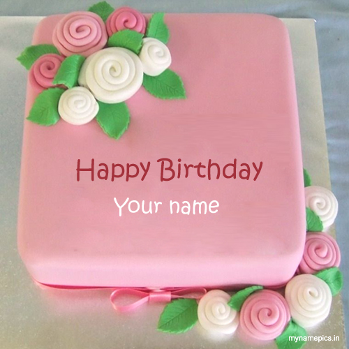 Write your name on rose birthday cake profile picture