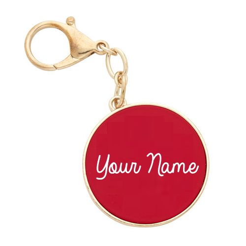 Write Name on Stylish Red Monogrammed Key Chain