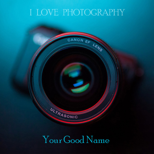 Write name on i love photography pix