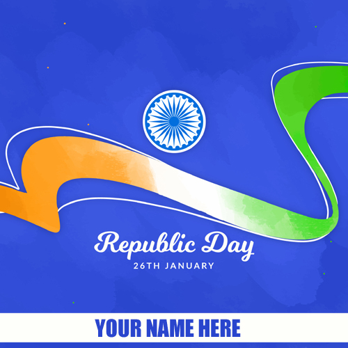 Write Name on Happy Indian Republic Day Greeting Card