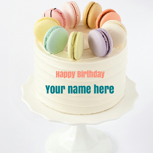 Delicious Name Birthday Cake With French Macaroons