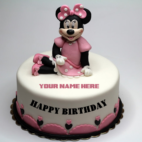 Cute Minnie Mouse Birthday Cake For Girl With Your Name