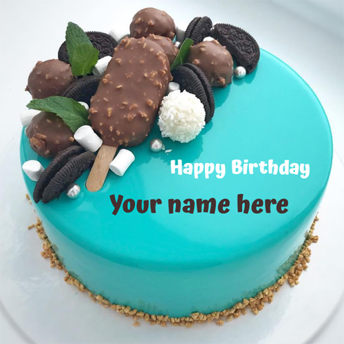 Write Name on Chocobar Candy and Oreo Toppings Cake