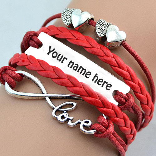 Write your name on cool red heart bracelets pic
