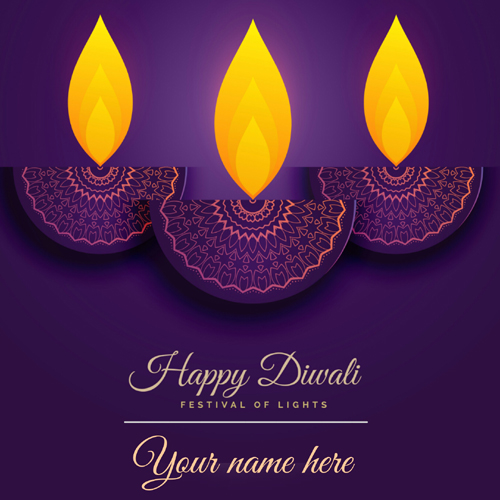 Happy Diwali Purple Diya Decorated Greeting With Name