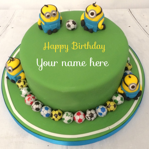 Cute Minions Football Kids Birthday Cake With Name
