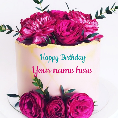 Elegant Floral Art Double Layer Cake With Name