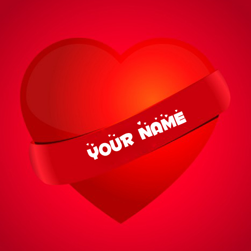 Write Girlfriend Name on Beautiful Red Heart Greeting