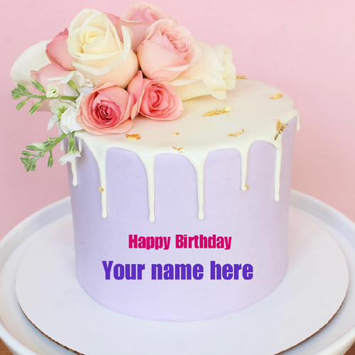 Floral Art Elegant Cake With Your Name