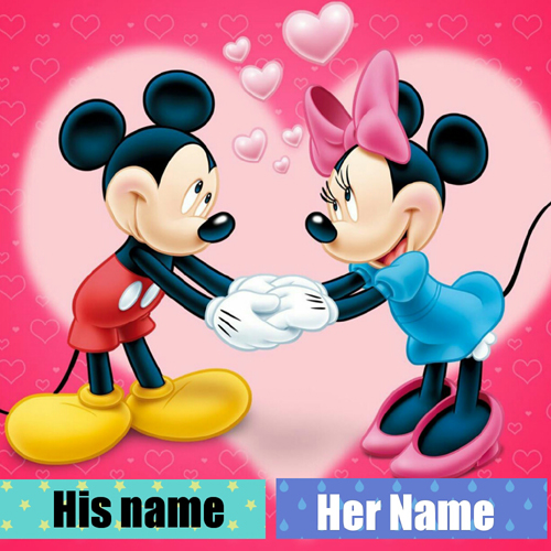 Mickey and Minnie Mouse Love Couple Greeting With Name