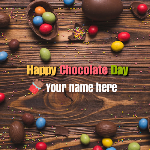 Write Name on Happy Chocolate Day Romantic Greeting