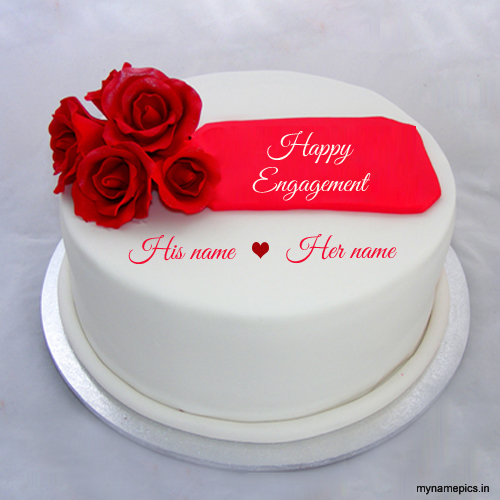 Congratulation Cake Images With Name : Write name on Engagement flower cake profile pic