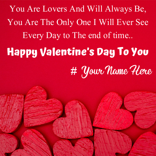 Write Name on Happy Valentines Day Love Quote Greeting