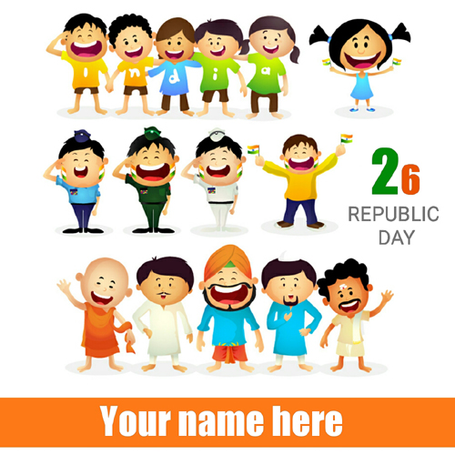 Republic Day Celebration Cute Greeting With Your Name