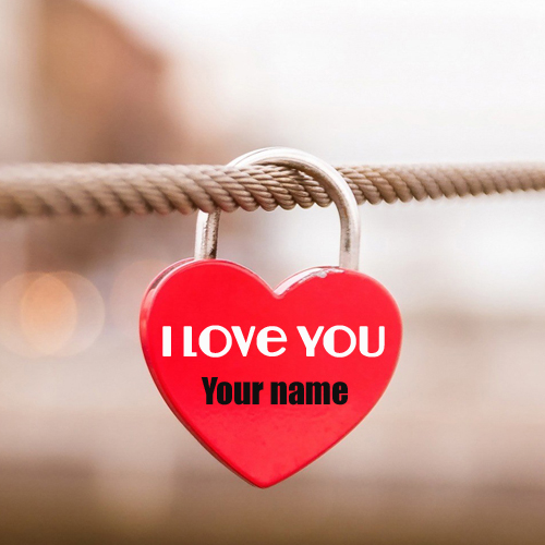 write name on cute love heart lock profile pic