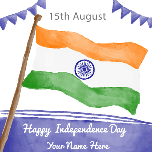 Write Name on Watercolour Greeting of Indian Flag