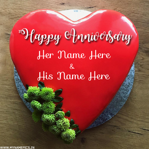 Write Name on Anniversary Wishes Romantic Heart Cake