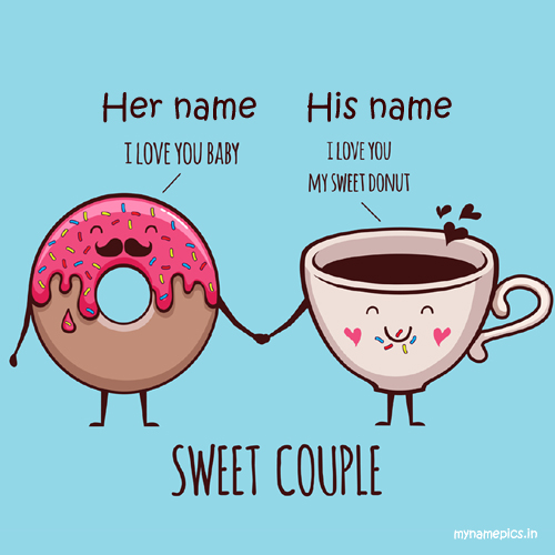 Write name on sweet couple love profile pic