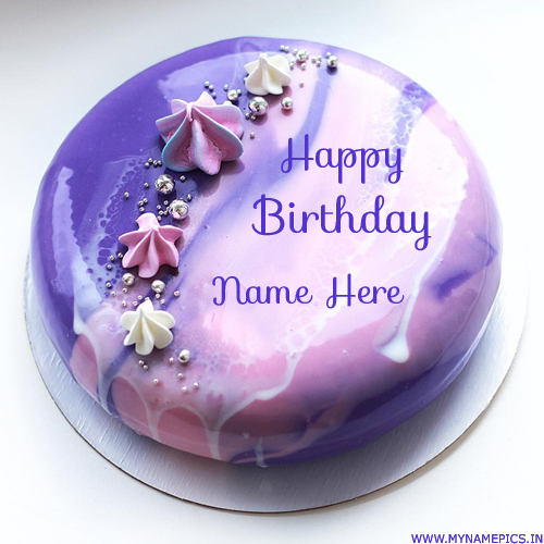Elegant Mirror Shining Purple Birthday Cake With Name