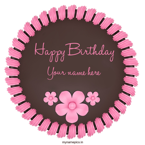 Write Your Name on beautiful birthday cake Free