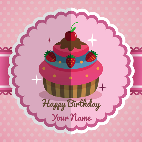 Happy Birthday Strawberry Cupcake Greeting With Name