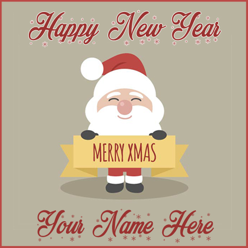 Fantastic Smiling Santa Claus Christmas Card With Name