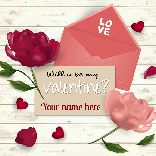 Will You Be My Valentine Propose Greeting With Name
