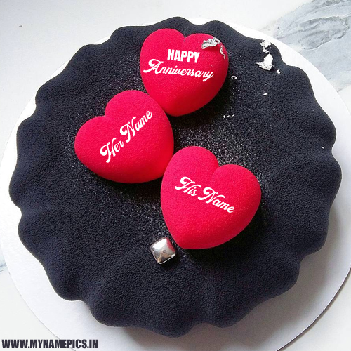 Anniversary Wishes Heart Cake With Love Couple Name