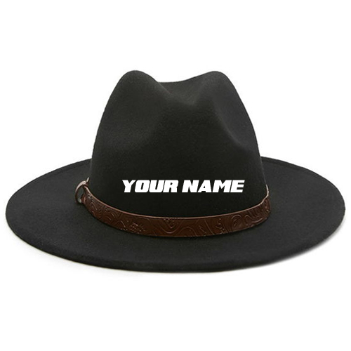 Embossed Band Wool Fedora For Boys With Your Name