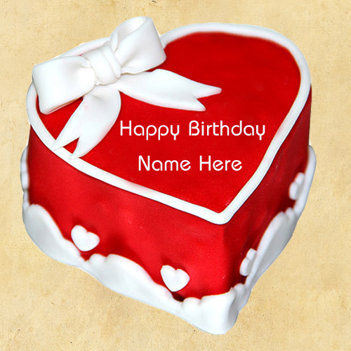 Write Name on Red Heart Birthday Cake For Friends