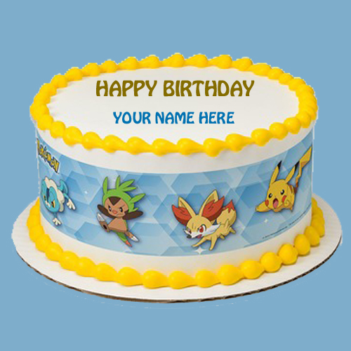 Happy Birthday Pokemon Cake With Your Name