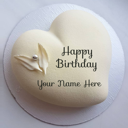Beautiful White Heart Birthday Cake With Lover Name