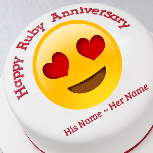 Happy Ruby Anniversary Funny Emoji Cake With Your Name