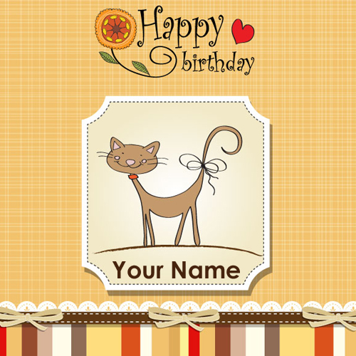 Happy Birthday Cute Cat Greeting With Custom Text