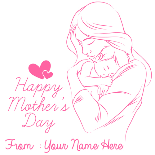Hand Drawn Mothers Day Cute Love Greeting With Name