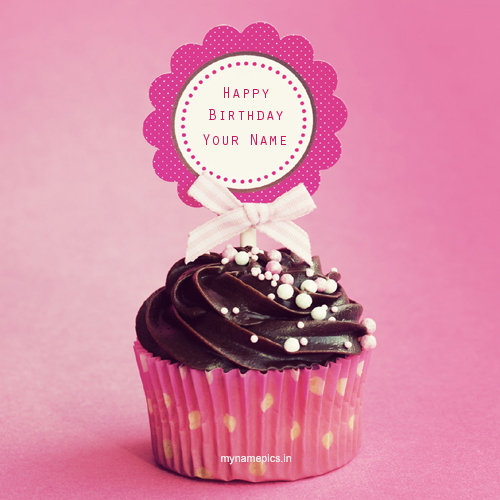 Write your name on birthday cup cake profile picture