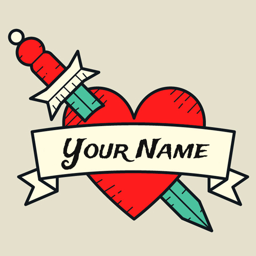 Create Vintage Red Heart Tattoo Design With Your Name