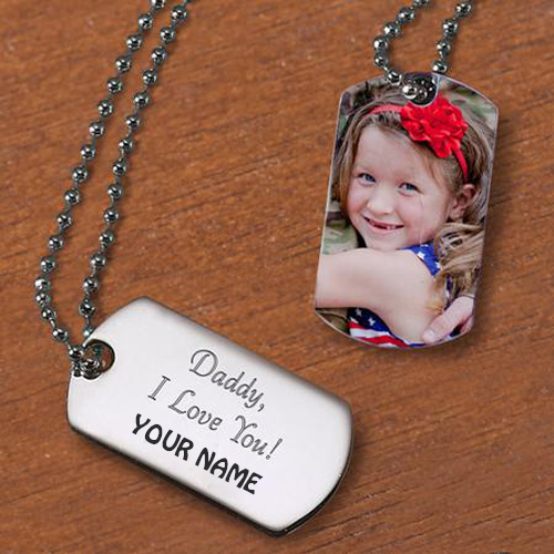I Love My Dad Cute Girl Pendant With Your Name