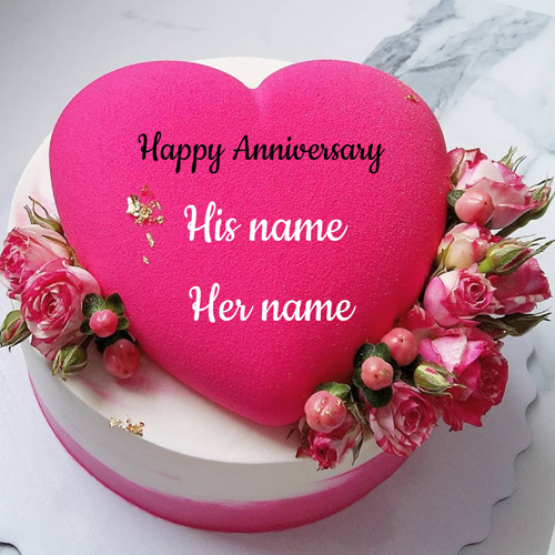 Elegant Heart Cake For Anniversary Wishes With Name